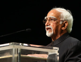 "The Vice President, Shri Mohd. Hamid Ansari addressing at the ""Golden Jubilee Commemorative Summit of the African Union"", in Addis Ababa, Ethiopia on May 25, 2013."