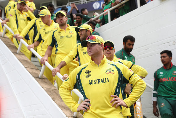 LONDON, ENGLAND - JUNE 05:  Steve Smith of Australia waits to lead his players onto the pitch during the ICC Champions Trophy Group A match between Australia and Bangladesh at The Kia Oval on June 5, 2017 in London, England.  (Photo by Christopher Lee-IDI/IDI via Getty Images)